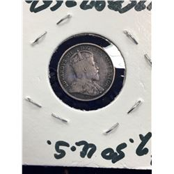 1902 CANADA 5 CENTS!LARGE H..VG-8