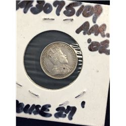 1908 CANADA 5 CENTS!SMALL 8.VG-10