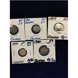 CANADA 5 CENTS LOT OF 5 GEOEGE V COINS