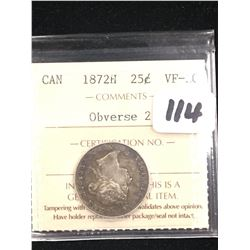 1872H CANADA 25 CENTS!OBV#2 ICCS VF-20