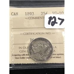 1893 CANADA 25 CENTS! ICCS VG-10! RARE KEY DATE!