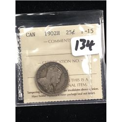 1902H CANADA 25 CENTS!ICCS F-15