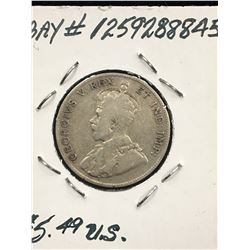 1911 CANADA 25 CENTS!VG-8
