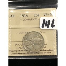1914 CANADA 25 CENTS! ICCS VF-20