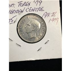 1952 CANADA  25 CENTS LOW RELIEF!EF-40