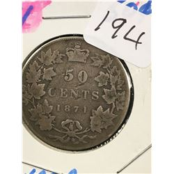 1871 CANADA 50 CENTS! G-4