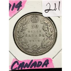 1914 CANADA 50 CENTS! KEY DATE VG-10