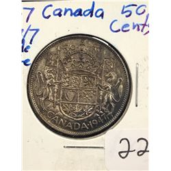 1947 (7/7) CANADA 50 CENTS!WIDE DATE!RARE VARIETY!