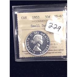 1953 CANADA 50 CENTS!ICCS MS-63 SMALL DATE NSF