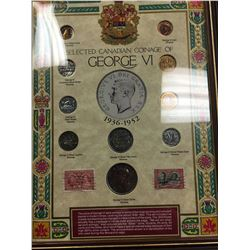 GEORGE VI FRAMED SELECTION OF CANADIAN COINAGE AND STAMPS!