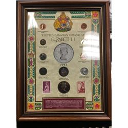 ELIZABETH II FRAMED SELECTION OF CANADIAN COINAGE AND STAMPS!
