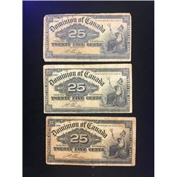 1900 (SHINPLASTER) DOMINION OF CANADA LOT OF 3 NOTES!