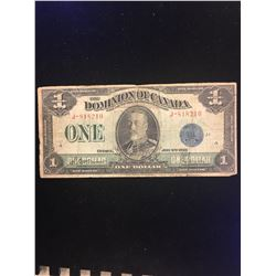 1923 DOMINION OF CANADA $1.00 NOTE! BLUE SEAL! MACCAVOUR/SAUNDERS