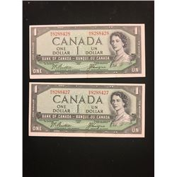 1954 DEVILS FACE $1.00 NOTES! 2 NOTES IN SEQUENCE!!