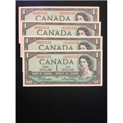 1954 MODIFIED $1.00 REPLCEMENT NOTES! 4 IN SEQUENCE! UNCIRCULATED NOTES!