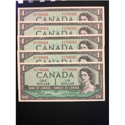 1954 MODIFIED $1.00 NOTES LOT OF 5 IN SEQUENCE! UNCIRCULATED!