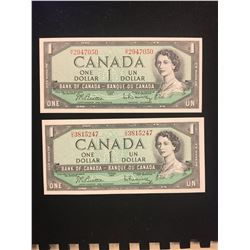 1954 MODIFIED $1.00 NOTES LOT OF 2 CHOICE UNC NOTES!