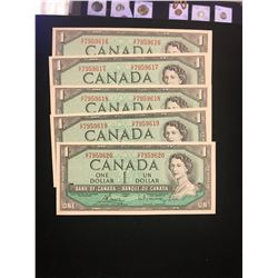 1954 MODIFIED $1.00 NOTES 5 IN SEQUENCE! CHOICE UNC NOTES!