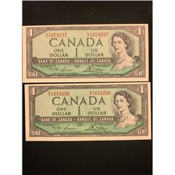 1954 MODIFIED $1.00 NOTES 2 IN SEQUENCE!CHOICE UNC!