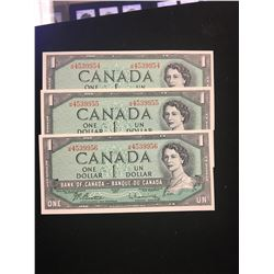 1954 MODIFIED $1.00 NOTES 3 IN SEQUENCE! CHOICE UNC NOTES!!