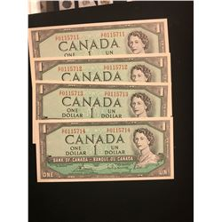 1954 MODIFIED $1.00 NOTES 4 IN SEQUENCE! CHOICE UNC NOTES!