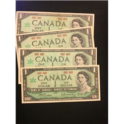 1967 CANADA $1.00 NOTES!LOT OF 4 NOTES!