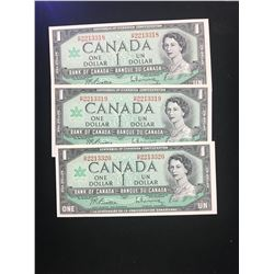 1967 CANADA $1.00 NOTES!LOT OF 3 NOTES IN SEQUENCE!CHOICE UNC!
