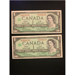 1967 CANADA $1.00 NOTES! 2 IN SEQUENCE! CHOICE UNC!