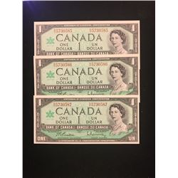 1967 CANADA $1.00 NOTES!3 IN SEQUENCE! CHOICE UNC!