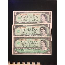1967 CANADA $1.00 NOTES! LOT OF 3 IN SEQUENCE! CHOICE UNC!