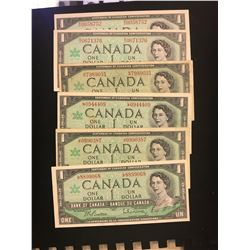 1967 CANADA $1.00 NOTES! LOT OF 6 NOTES! MIXED REGULAR SERIAL NUMBERS