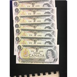 1973 CANADA $1.00 NOTES !7 IN SEQUENCE! CHOICE UNC!