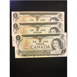 1973 CANADA $1.00 NOTES! 3 IN SEQUENCE!CHOICE UNC!