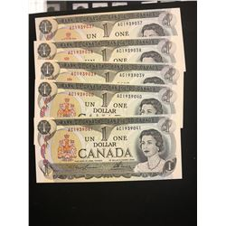 1973 CANADA $1.00 NOTES! 5 IN SEQUENCE! CHOICE UNC