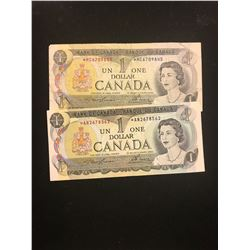 1973 CANADA $1.00 REPLACEMENT NOTES! LOT OF 2 NOTES!