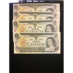 1973 CANADA $1.00 NOTES! 4 IN SEQUENCE! CHOICE UNC!