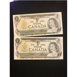 1973 CANADA $1.00 NOTES LOT OF 2 NOTES IN SEQUENCE!!