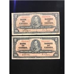 1937 BANK OF CANADA $2.00 NOTE LOT OF 2 NOTES!