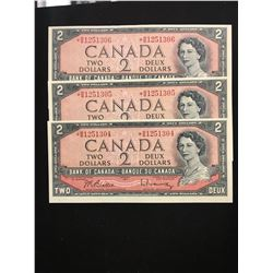 1954 $2.00 REPLACEMENT NOTES 3 IN SEQUENCE! RARE!!CHOICE UNC NOTES!