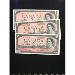 1954 BANK OF CANADA $2.00 NOTES 3 IN SEQUENCE! CHOICE UNC!