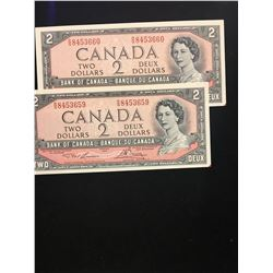 1954 BANK OF CANADA $2.00 NOTES 2 IN SEQUENCE! CHOICE UNC!