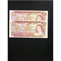 1974 BANK OF CANADA $2.00 NOTES 2 IN SEQUENCE! CHOICE UNC