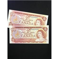 1974 BANK OF CANADA $2.00 NOTES! 2 NOTES IN SEQUENCE!CHOICE UNC