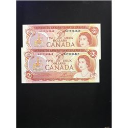 1974 BANK OF CANADA $2.00 NOTES! 2 IN SEQUENCE!CHOICE UNC!