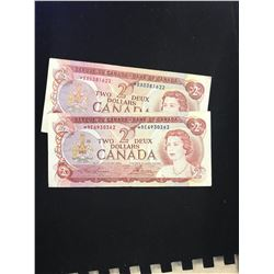 1974 $2.00 REPLACEMENT NOTES! LOT OF 2 NOTES!