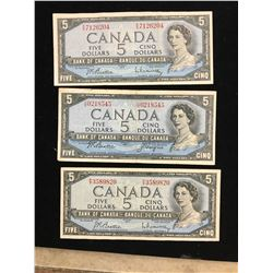 1954 BANK OF CANADA $5.00 NOTES ,LOT OF 3 NOTES!