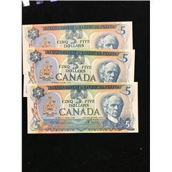 1979 BANK OF CANADA $5.00 NOTES!LOT OF 3 NOTES IN SEQUENCE!!