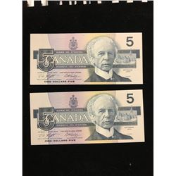 1986 BANK OF CANADA $5.00 NOTES!2 NOTES IN SEQUENCE!