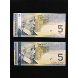 2006 BANK OF CANADA $5.00 NOTES! 2 IN SEQUENCE! ONE IS A RADAR NOTE!
