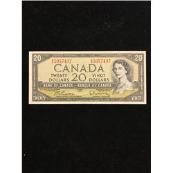 1954 BANK OF CANADA $20.00 NOTE! MODIFIED..BEATTIE/RASMINSKY